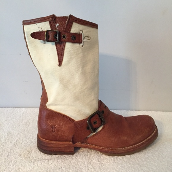 Frye Shoes - Frye veronica grommet short canvas boots sz 7 CP